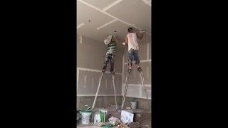 La sorprendente creatividad de dos albañiles al realizar su trabajo